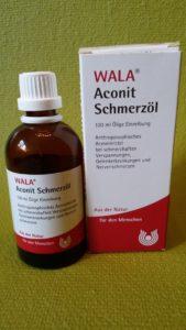 Aconit Schmerzöl (Fa. WALA) - Flasche und Verpackung